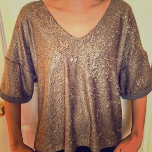 Anthro Sequin Blouse by Delta